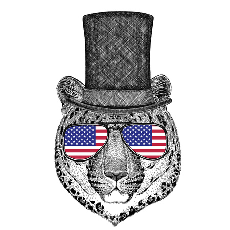 stove pipe: Wild cat Leopard Cat-o-mountain Panther wearing cylinder top hat and glasses with usa flag United states of America flag