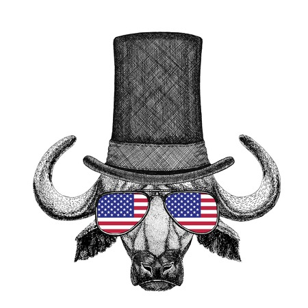 stove pipe: Vintage style drawing Animal wearing cylinder top hat Stock Photo