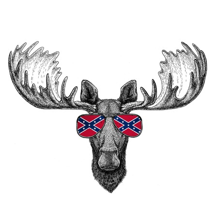 Moose, elk wearing glasses with National flag of the Confederate States of America Usa flag glasses Wild animal for t-shirt, poster, badge, banner, emblem,