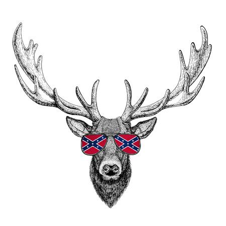 Cerf portant des lunettes avec le drapeau national des États-Unis d'Amérique de drapeau des États-Unis d'Amérique Lunettes de vue Animaux sauvages pour t-shirt, affiche, badge, bannière, emblème, logo Banque d'images - 80594526