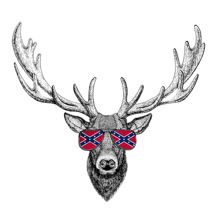 Deer wearing glasses with National flag of the Confederate States of America Usa flag glasses Wild animal for t-shirt, poster, badge, banner, emblem, logo Banco de Imagens