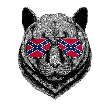 Panther Puma Cougar Wilde kat draagt een bril met de nationale vlag van de Geconfedereerde Staten van Amerika Usa vlag bril Wild dier voor t-shirt, poster, badge, banner, embleem, logo
