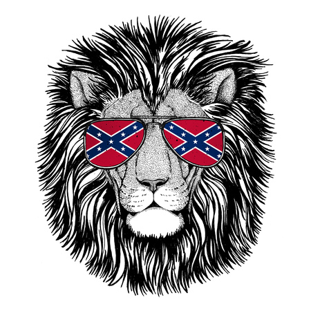 Wild Lion wearing glasses with National flag of the Confederate States of America Usa flag glasses Wild animal for t-shirt, poster, badge, banner, emblem, logo