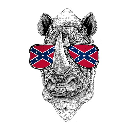 Rhinoceros, rhino wearing glasses with National flag of the Confederate States of America Usa flag glasses Wild animal for t-shirt, poster, badge, banner, emblem, logo Stock Photo