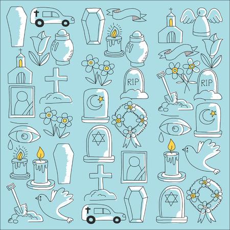 Funeral dunne lijn pictogram. Set van begrafenis objecten Doodle vector iconen RIP