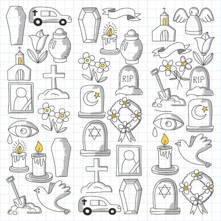Icona della linea sottile funerale. Set di oggetti funerali Doodle icone vettoriali RIP Archivio Fotografico - 80439884