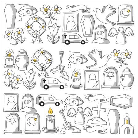Icona della linea sottile funerale. Set di oggetti funerali Doodle icone vettoriali RIP Archivio Fotografico - 80439886