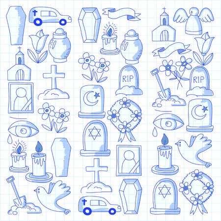 Funeral dunne lijn icoon. Set van begrafenisvoorwerpen Doodle vector iconen RIP Stock Illustratie