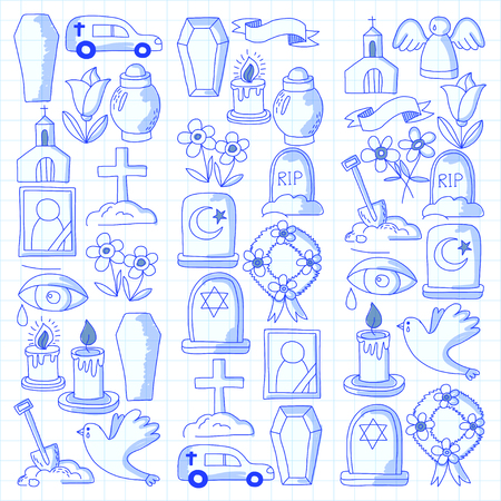 Icona della linea sottile funerale. Set di oggetti funerali Doodle icone vettoriali RIP Archivio Fotografico - 80439900
