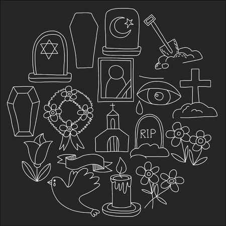 Icona della linea sottile funerale. Set di oggetti funerali Doodle icone vettoriali RIP Archivio Fotografico - 80439906