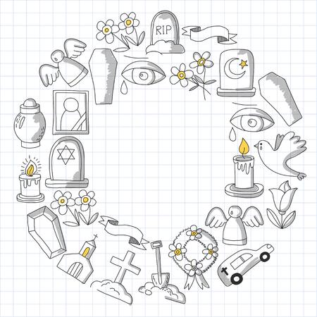 Icona della linea sottile funerale. Set di oggetti funerali Doodle icone vettoriali RIP Archivio Fotografico - 80439927
