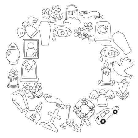 Icona della linea sottile funerale. Set di oggetti funerali Doodle icone vettoriali RIP Archivio Fotografico - 80439962