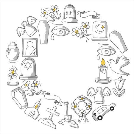 Icona della linea sottile funerale. Set di oggetti funerali Doodle icone vettoriali RIP Archivio Fotografico - 80439964