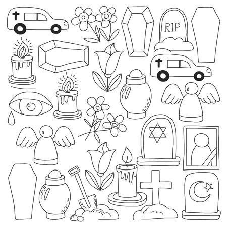 Icona della linea sottile funerale. Set di oggetti funerali Doodle icone vettoriali RIP Archivio Fotografico - 80440007