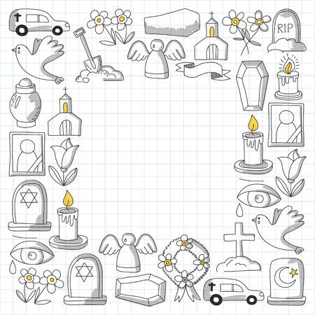 Icona della linea sottile funerale. Set di oggetti funerali Doodle icone vettoriali RIP Archivio Fotografico - 80440126