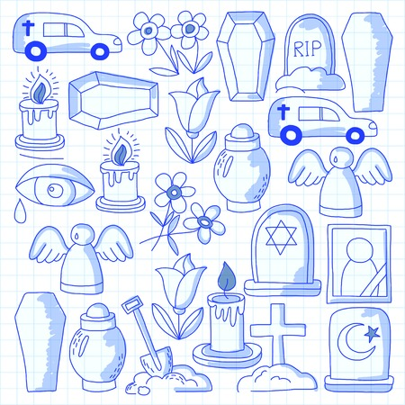 burial: Funeral thin line icon. Set of funeral objects Doodle vector icons RIP