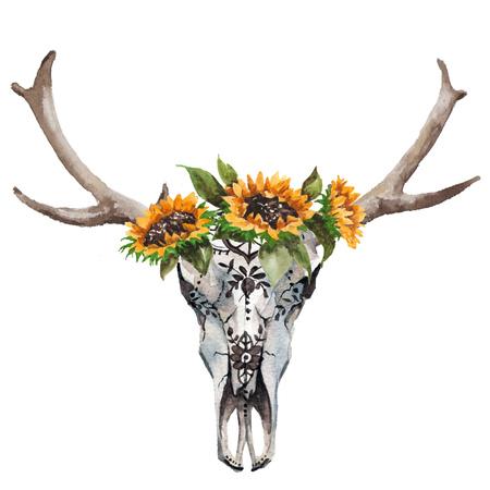花と白い背景に羽水彩分離ブルズ ヘッド。自由奔放に生きるスタイル。折り返し、壁紙、t シャツ スカル 写真素材