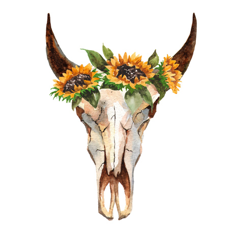 Watercolor isolated bulls head with flowers and feathers on white background. Boho style. Skull for wrapping, wallpaper, t-shir