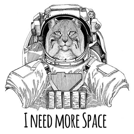 Gatto selvatico Lynx Bobcat Trotto che indossa tuta spaziale Animale selvatico astronauta Astronauta Galaxy esplorazione Illustrazione disegnata a mano per t-shirt Archivio Fotografico - 80565345