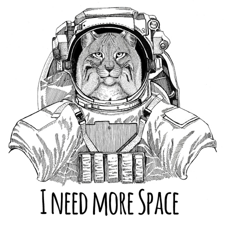 Wild cat Lynx Bobcat Trot wearing space suit Wild animal astronaut Spaceman Galaxy exploration Hand drawn illustration for t-shirt