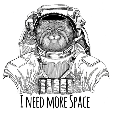 mustached: Wild cat Manul wearing space suit Wild animal astronaut Spaceman Galaxy exploration Hand drawn illustration for t-shirt