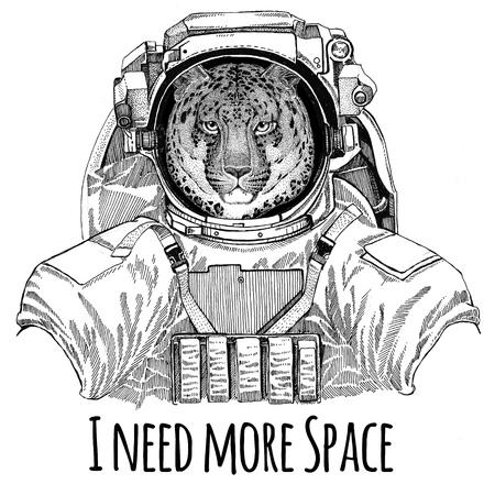 Wilde kat Leopard Cat-o-mountain Panther dragen ruimtepak Wilde dieren astronaut Spaceman Galaxy exploratie Hand getekende illustratie voor t-shirt