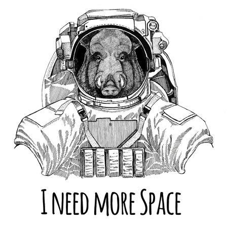 Aper, boar, hog, hog, wild boar wearing space suit Wild animal astronaut Spaceman Galaxy exploration Hand drawn illustration for t-shirt