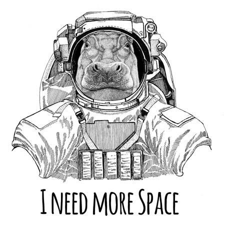 Hippo, Hippopotamus, behemoth, river-horse wearing space suit Wild animal astronaut Spaceman Galaxy exploration Hand drawn illustration for t-shirt Stock Photo