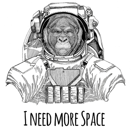 Gorilla, monkey, ape Frightful animal wearing space suit Wild animal astronaut Spaceman Galaxy exploration Hand drawn illustration for t-shirt