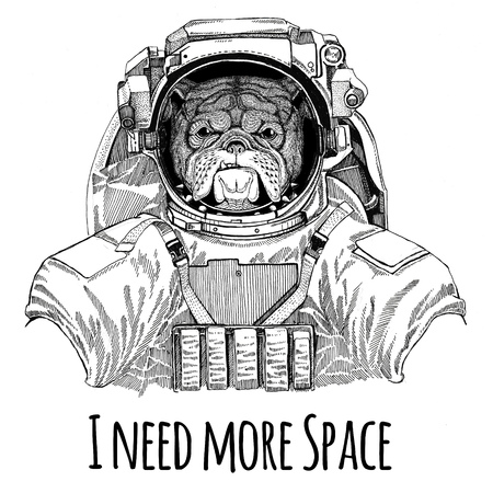 불독 착용 우주 정장 야생 동물 우주 비행사 우주 비행사 갤럭시 탐사 손으로 그린 그림 티셔츠