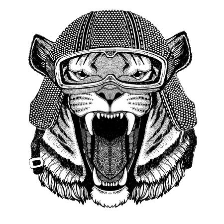 Wild tiger wearing vintage motorcycle helmet Tattoo, badge, emblem, logo, patch, t-shirt