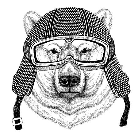 Polar bear wearing vintage motorcycle helmet Tattoo, badge, emblem, logo, patch, t-shirt