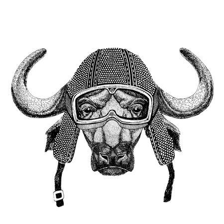 Buffalo, bull, ox wearing vintage motorcycle helmet Tattoo, badge, emblem, logo, patch, t-shirt