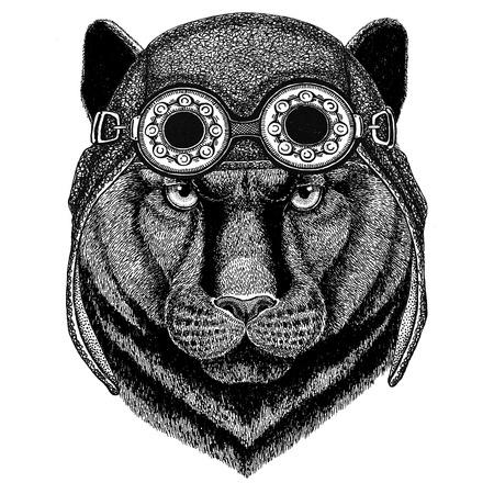 Panther Puma Cougar Wild kat dragen aviator hoed Motor hoed met glazen voor fietser Illustratie voor motorfiets of vlieger t-shirt met wild dier