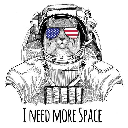 米国旗メガネ アメリカ国旗アメリカ合衆国フラグ野生の猫 Lynx ボブキャット トロット着て宇宙服野生動物宇宙飛行士宇宙飛行士銀河探査手描き下ろ