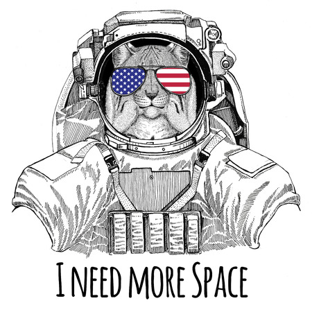 Usa flag glasses American flag United states flag Wild cat Lynx Bobcat Trot wearing space suit Wild animal astronaut Spaceman Galaxy exploration Hand drawn illustration for t-shirt