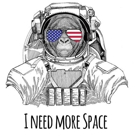 미국 국기 안경 미국 국기 미국 국기 고릴라, 원숭이, 원숭이 우주 정장을 입고 무서운 동물 야생 동물 우주 비행사 우주인 은하 탐사 손으로 그린 그림