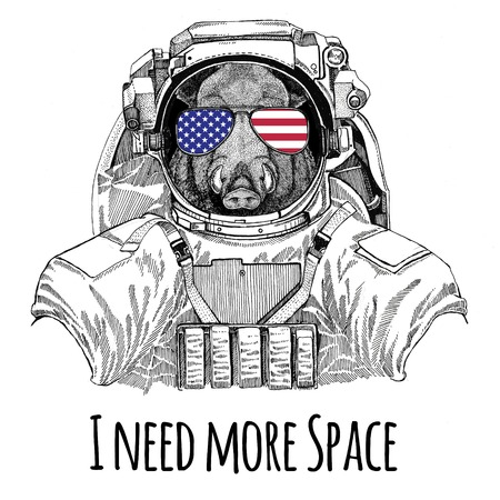 Usa flag glasses American flag United states flag Aper, boar, hog, hog, wild boar wearing space suit Wild animal astronaut Spaceman Galaxy exploration Hand drawn illustration for t-shirt Stock Illustration - 80713799