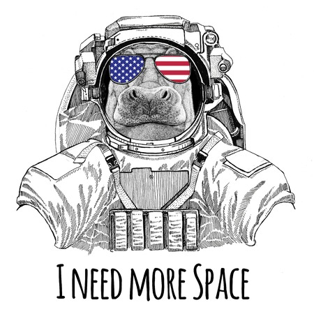 Usa flag glasses American flag United states flag Hippo, Hippopotamus, behemoth, river-horse wearing space suit Wild animal astronaut Spaceman Galaxy exploration Hand drawn illustration for t-shirt Stock Photo