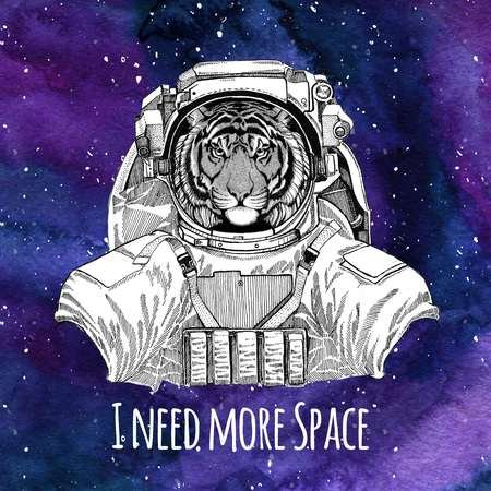 Dierlijke astronaut Wilde tijger draagt ruimtepak Galaxy ruimteachtergrond met sterren en nevel Aquarel galaxy achtergrond