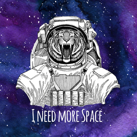 Animal astronaut Wild tiger wearing space suit Galaxy space background with stars and nebula Watercolor galaxy background Stock fotó