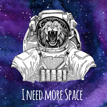 Animal astronaut Lion wearing space suit Galaxy space background with stars and nebula Watercolor galaxy background