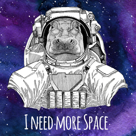 Animal astronaut Hippo, Hippopotamus, behemoth, river-horse wearing space suit Galaxy space background with stars and nebula Watercolor galaxy background