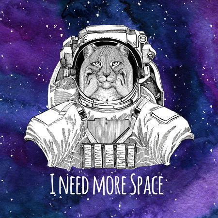 Animal astronaut Wild cat Lynx Bobcat Trot wearing space suit Galaxy space background with stars and nebula Watercolor galaxy background