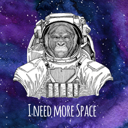 Animal astronaut Gorilla, monkey, ape Frightful animal wearing space suit Galaxy space background with stars and nebula Watercolor galaxy background