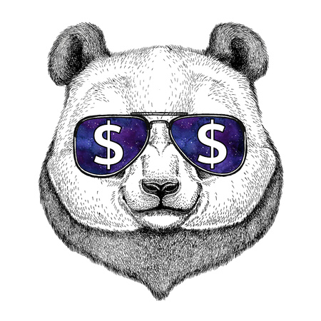 Panda bear, bamboo bear wearing glasses with dollar sign Illustration with wild animal for t-shirt, tattoo sketch, patch