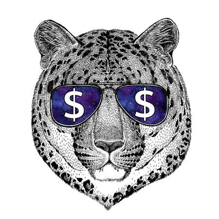 Wildkatze Leopard Cat-o-Berg Panther mit Brille mit Dollarzeichen Illustration mit Wildtier für T-Shirt, Tattoo Skizze, Patch Standard-Bild - 80729647
