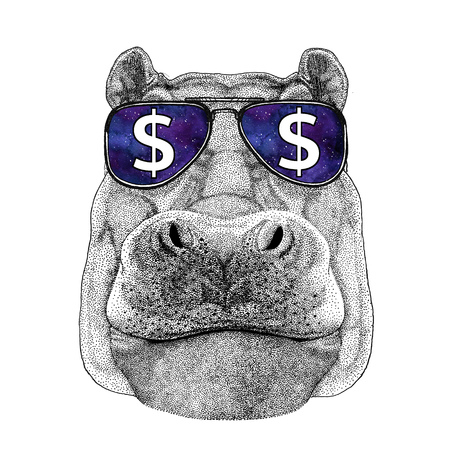 Hippo, Hippopotamus, behemoth, river-horse wearing glasses with dollar sign Illustration with wild animal for t-shirt, tattoo sketch, patch Foto de archivo