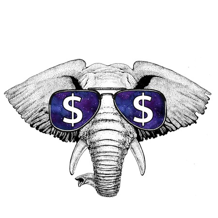African or indian Elephant wearing glasses with dollar sign Illustration with wild animal for t-shirt, tattoo sketch, patch