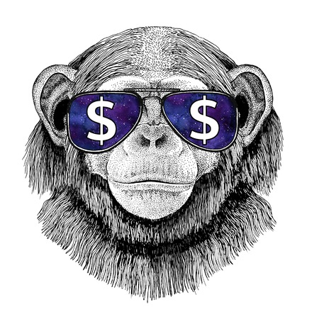 Chimpanzee Monkey wearing glasses with dollar sign Illustration with wild animal for t-shirt, tattoo sketch, patch